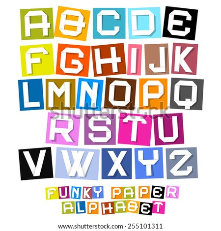 Colorful Paper Cut Funky Alphabet