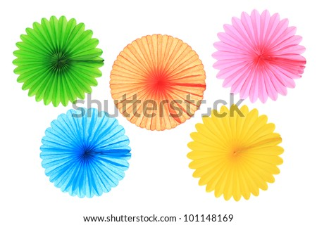 Fan Pictures to Color Colorful Paper Fans Isolated