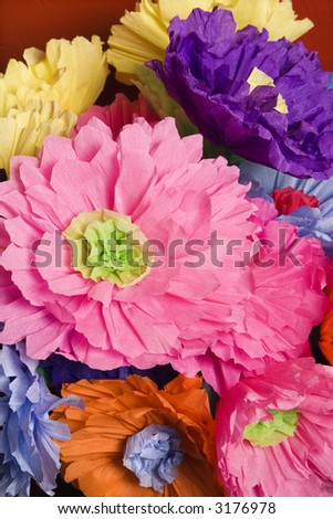 Colorful paper flower bouquet. - stock photo