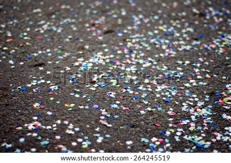 Colorful paper on the floor, Confetti on the street