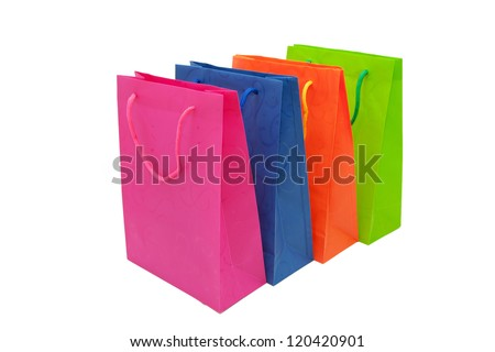 Colorful paper shopping bags. Space for your logo or symbol. Isolated on white background - stock photo