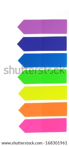 colorful paper stick on white - stock photo