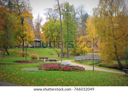 colorful park scene
