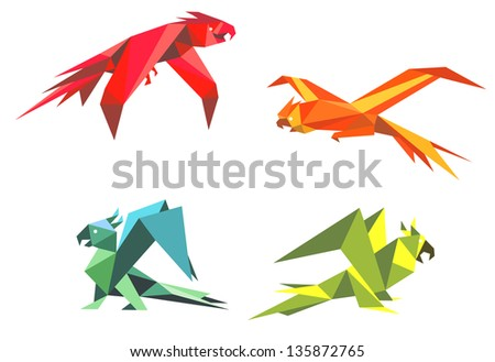Colorful parrot birds in origami style isolated on white background. Vector version also available in gallery - stock photo