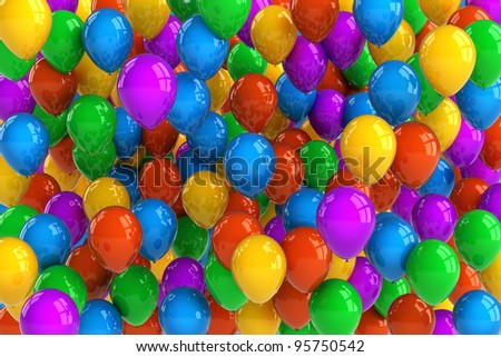 Colorful party balloon background with dozens of balloons - stock photo