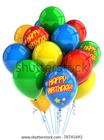 Colorful party balloons celebrating a birthday over white - stock photo
