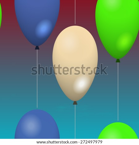 Colorful party balloons flying in the sky.  - stock photo