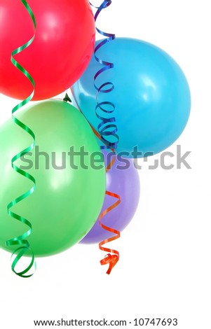 colorful party baloons and ribbons on white background - stock photo