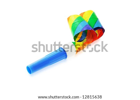 Colorful party blower isolated on white background - stock photo