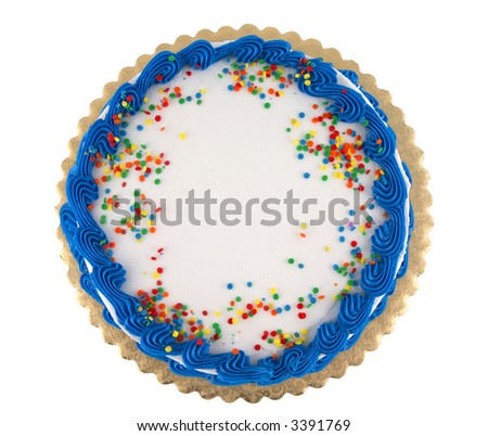 Colorful party cake with confetti and blue decorative icing - stock photo