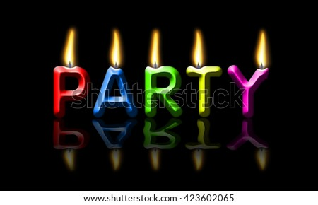 Colorful party candles on black background