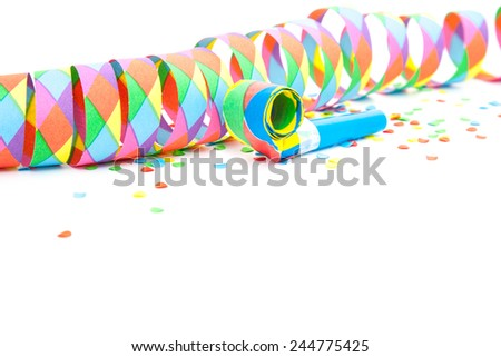 Colorful party decoration background. All on white. - stock photo