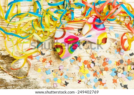 Colorful party decoration with copy space - stock photo