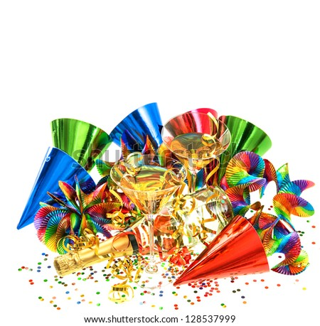colorful party decoration with garlands, streamer, cracker, confetti and cocktail glasses. holidays background with place for your text - stock photo