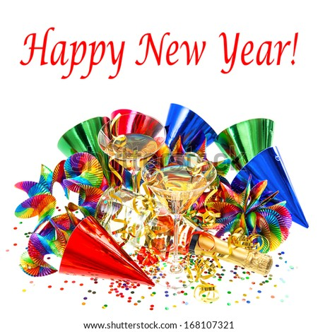 colorful party decoration with garlands, streamer, cracker, confetti and cocktail glasses. holidays background with sample text Happy New Year! - stock photo