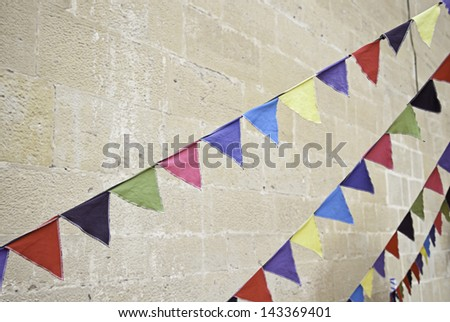 Colorful party flags, detail of old flags celebration - stock photo