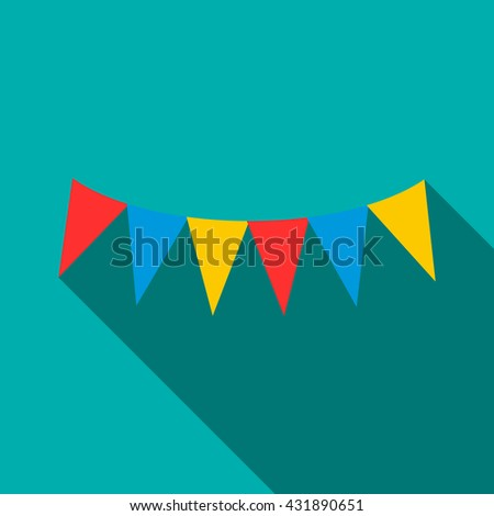 Colorful party flags icon, flat style - stock photo
