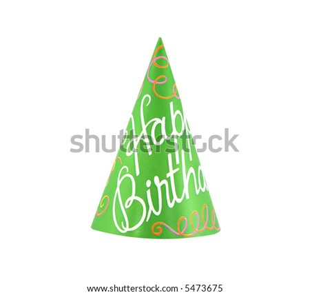 Colorful party hat with cursive writing of happy birthday - stock photo