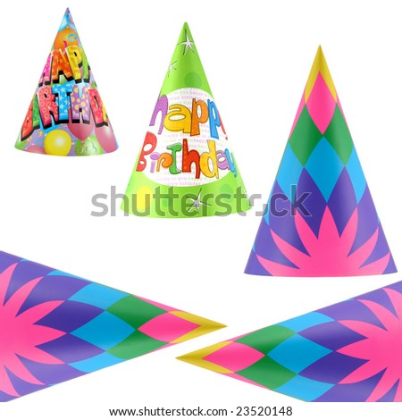 Colorful party hats isolated on white background - stock photo