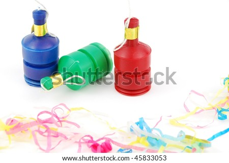colorful party poppers isolated on white background - stock photo