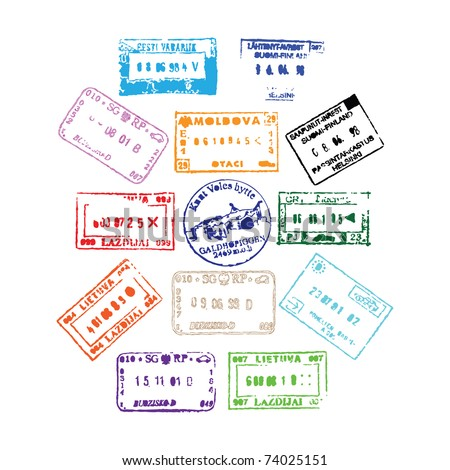 Colorful passport stamps background for your design - stock photo