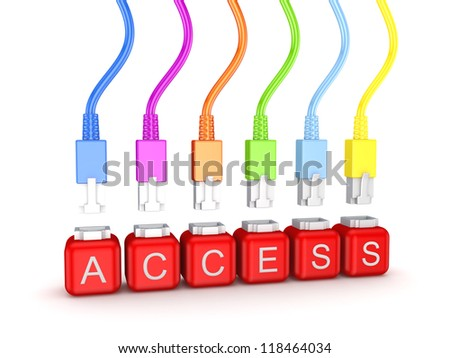 Colorful patchcords and word Access.Isolated on white background.3d rendered.