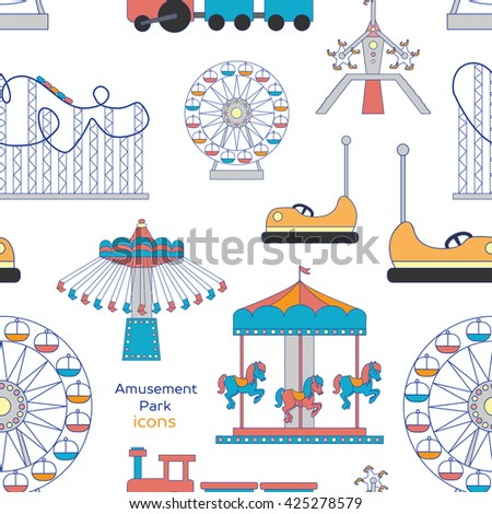 Colorful pattern amusement park or funfair attraction icons - stock photo