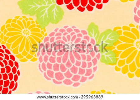 Colorful pattern chrysanthemum fabric for background or texture.  - stock photo