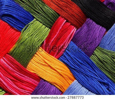 Colorful pattern lattice background from embroidery thread - stock photo