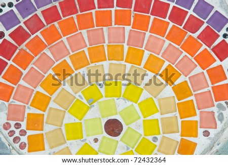 colorful pattern of ceramic on the floor at thai temple - stock photo