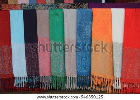 Colorful pattern of clothes at Luangphrabang , Lao