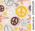Colorful peace and love hand drawn icons seamless pattern . - stock