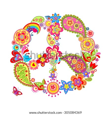 Colorful peace flower symbol with paisley - stock photo