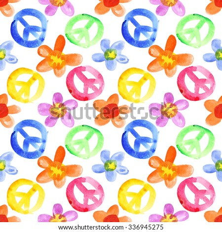 Colorful peace signs and flowers - seamless background - stock photo