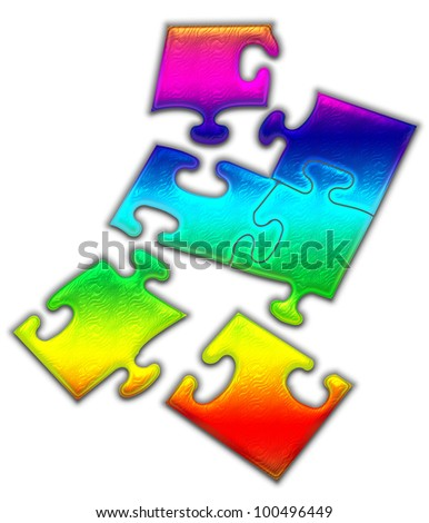 Colorful  peaces of a puzzle.