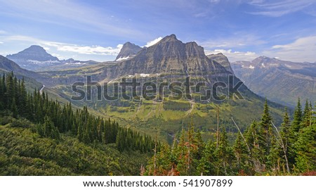 Colorful Peaks from an Alpine View in Glacier National Park in Montana