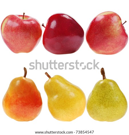 colorful pears and red apples, isolated on white - stock photo