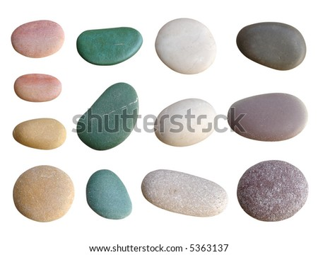 colorful pebbles isolated on white - stock photo