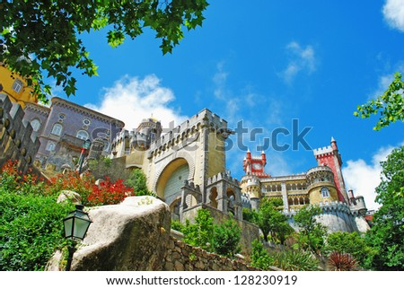 colorful Pena Palace, famous palace and one of the seven wonders in Portugal - stock photo