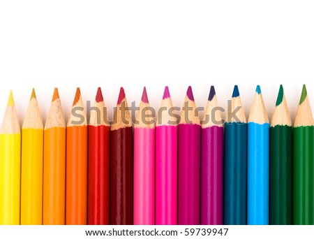 Colorful pencil crayons on a white background, Education background - stock photo