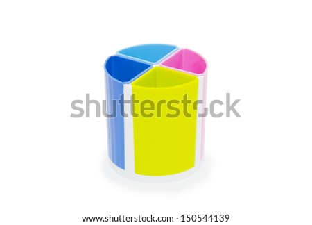 Colorful pencil holder isolated on white background