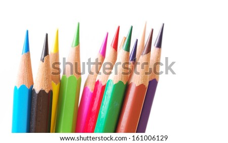 Colorful pencil on isolate background - stock photo