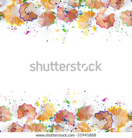 Colorful pencil shavings isolated in white background - stock photo