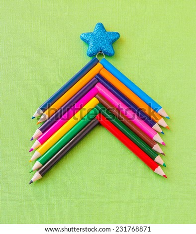 Colorful pencils as christmas tree, xmas card concept - stock photo