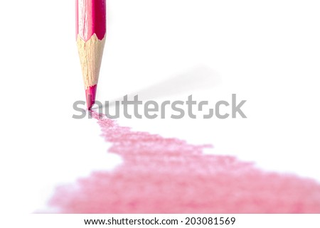colorful pencils drawing line on a white background - stock photo