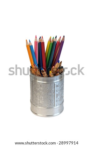 colorful pencils in a chinese made cup - stock photo