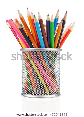 colorful pencils in holder isolated on white background - stock photo