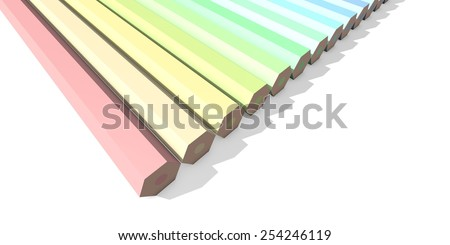 Colorful pencils in pastel colors - view from above - stock photo