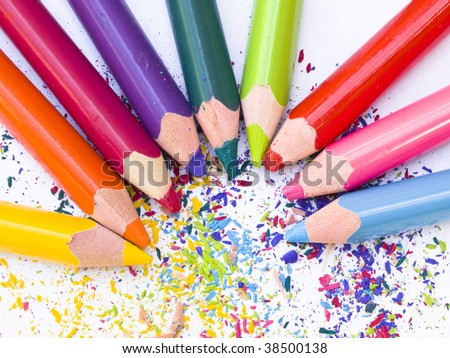 colorful pencils in the cyrcle