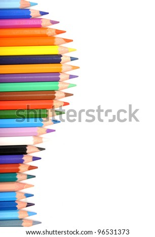 colorful pencils isolated on white background - stock photo